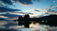 Scottish castle sunset- Timelapse Stock Footage