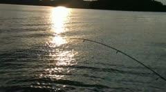 Sunset Lake Fishing Stock Footage