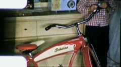Boy Gets NEW SCWINN BIKE Bicycle Xmas 1950s Vintage 8mm Film Home Movie 5952 Stock Footage
