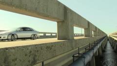 Closeup vehicles on a bridge Stock Footage