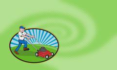 Lawn mowing landscaper gardener. Stock Illustration