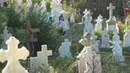 Widows with Candles at Orthodox Cemetery, Cross, Women at Cemetery Stock Footage