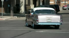Tracking Classic Car Driving Stock Footage