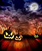 Scary halloween pumpkins at night Stock Photos