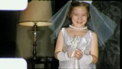 LITTLE GIRL CHRISTIAN First Communion 1960 (Vintage Old Film Home Movie) 5962 Stock Footage