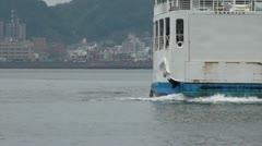 Sakurajima ferry arriving, transportation in Japan over sea Stock Footage