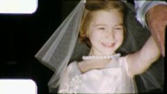 FIRST COMMUNION DRESS Catholic Girl DAD 1960 (Vintage Old Film Home Movie) 5963 Stock Footage