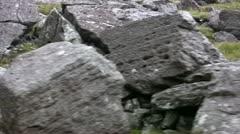 Snowden railway ascent rock strewn landscape Stock Footage