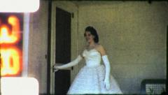 Pretty Girl in FORMAL GOWN EVENING DRESS Prom 1960s Vintage Film Home Movie 5966 Stock Footage