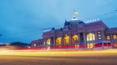 Night city traffic timelapse near Main railway terminal in Odessa, Ukraine. Stock Footage