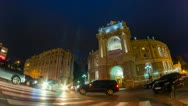 Night city traffic timelapse with zoom near Opera House Stock Footage