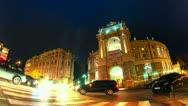 Night city traffic timelapse near Opera House, 4K Stock Footage