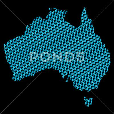 Stock Illustration of australia map with dollar symbols on black illustration