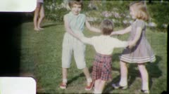 KIDS PLAY Ring Around The Rosie GAME 1950s Vintage 8mm Film Home Movie 5976 - stock footage