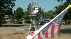 Windmill and American Flag Stock Footage