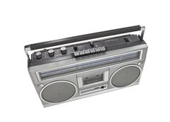 retro boom box portable stereo isolated - stock photo