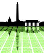 Washington dc skyline with text illustration Stock Illustration