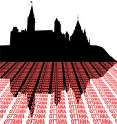 Canadian Parliament with text perspective illustration Stock Illustration