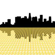 los angeles skyline reflected with dollar symbols illustration - stock illustration