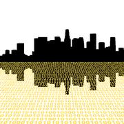 Los angeles skyline with binary perspective foreground Stock Illustration