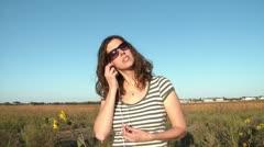 Woman Listening to Earphones Music Stock Footage