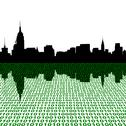Stock Illustration of midtown manhattan skyline with binary perspective foreground