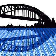 Stock Illustration of sydney harbour bridge with text illustration