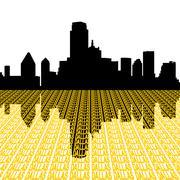 Dallas skyline kaupunki tekstin perspektiivi kuvitus Piirros