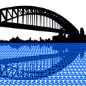 Stock Illustration of Sydney harbor bridge with dollar symbols illustration