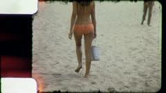 BIKINI SURFER GIRL on the Beach 1975 (Vintage Old Film Home Movie) 5986 Stock Footage