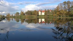 Historical Birzai castle and Sirvena lake, Lithuania Stock Footage