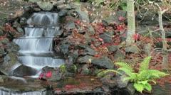 Timelapse of Waterfall in Backyard Garden in Late Autumn 1080p Stock Footage