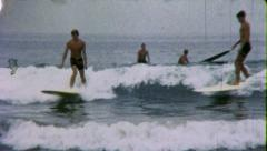 Surfs Up! SURFERS Beach SURFING Boards 1960 Vintage Retro Film Home Movie 5998 - stock footage
