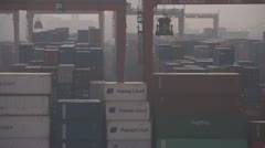 Egypt, Port Alexandria shipping containors gantry cranes, dolly Stock Footage
