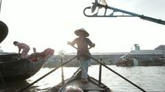 Boat at the floating market. Mekong Delta. Vietnam. Stock Footage