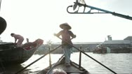 Boat at the floating market. Mekong Delta. Vietnam. Stock Footage
