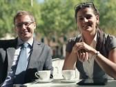 Young successful happy business people in the cafe NTSC Stock Footage
