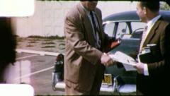 MAN BUYING USED CAR 1960s Vintage Retro Amateur Home Movie Film 6005 Stock Footage