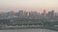 Port Alexandria skyline, sunrise, dolly Stock Footage
