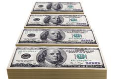 Stacks of one hundred dollar bills Stock Photos