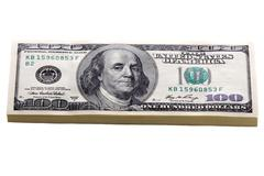 One hundred dollar bills isolated Stock Photos