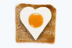 cooked egg on toast - stock photo