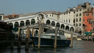 Stock Video Footage of Rialto Bridge in Venice, Italy, people,  boats, ships and gondolas trip, tour