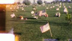MEMORIAL DAY FLAGS Graveyard 1950s (Vintage Film Amateur Home Movie) 6011 Stock Footage
