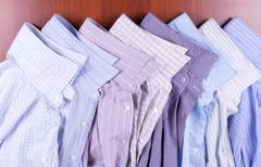 eight multi-colored male shirts - stock photo