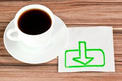 the sign of loading on a napkin - stock photo