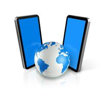 two mobile phones around a world globe - stock illustration