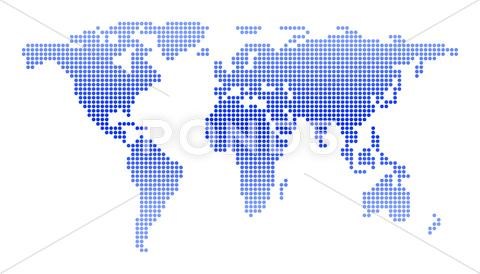 Stock Illustration of world map of circles
