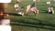 MEMORIAL DAY FLAGS Graveyard 1950s (Vintage Film Amateur Home Movie) 6015 Stock Footage