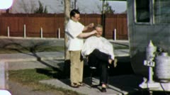 Man GETS HAIRCUT BARBER Getting a Style 1950s Vintage 8mm Film Home Movie 6016 Stock Footage